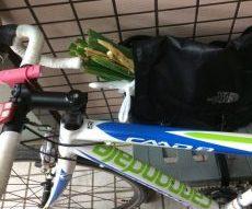 ネギ貰って、自転車でかえります。