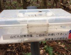 神奈川県秦野市にて山中に山ヒルがいるようです。対策用の塩が置いてありました。